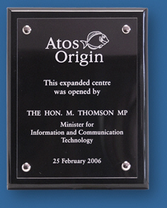 Etched Acrylic plaque Atos