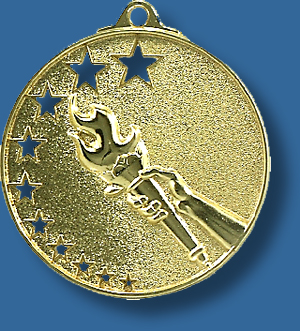 Victory torch medal bright star