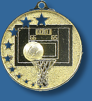Basketball medal bright star