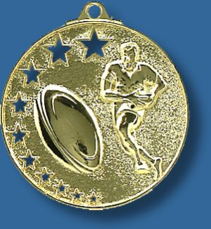 Rugby medal bright star.Rugby Medal Generic Metal. Gold detail of figure and ball. Can be engraved.