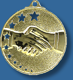 Handshake medal bright star