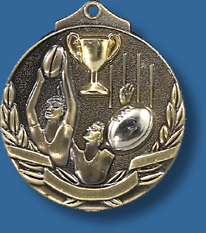 Gold only 52mm Australian Rules AFL medal two tone