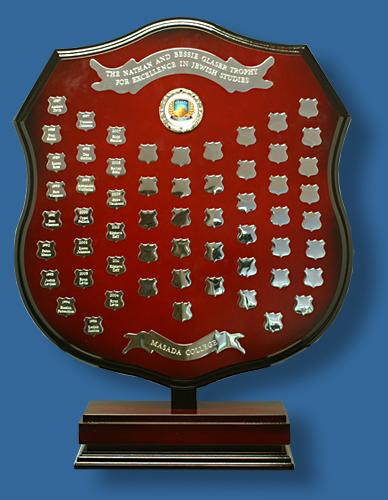 Sporting Shield trophy Maroon gold fittings. Freestanding 69cm