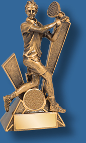 Mens backhand tennis trophy with insert space