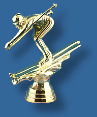 Gold downhill Skiing figure trophy