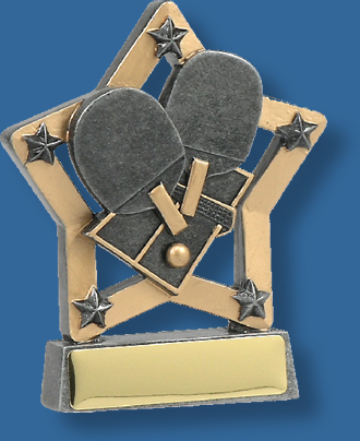 Table tennis trophy in star