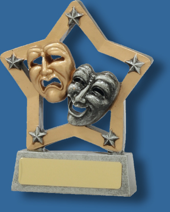 Drama mask trophy in star