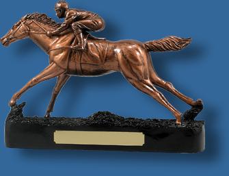 Large bronze horse racing trophy