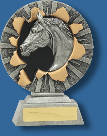 Horse bust in wreath trophy