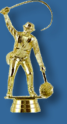 Bright gold fisherman figure with rod, reel and net.
