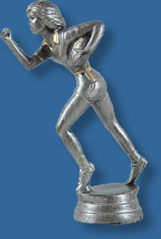 Female touch football silver/gold figure, carrying the ball with bright silver colour, attaches to most bases