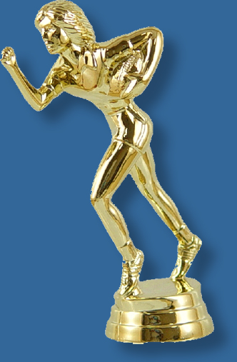 Female touch football trophy figurine, carrying the ball figure in bright gold colour, attaches to most bases