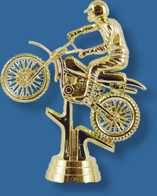 Gold motocross trophy figurine