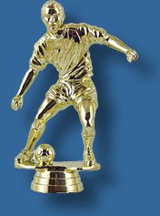Gold male soccer player trophy