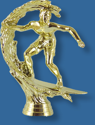 Surfing trophy figurine in bright gold colour, attaches to most bases