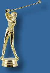 Gold male golf trophy figurine