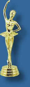 Gold ballerina trophy figurine