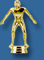 Male swimming trophy figurine, shiny gold colour
