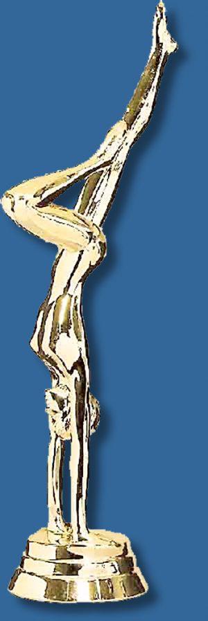 Female gymnastics trophy handstand figurine