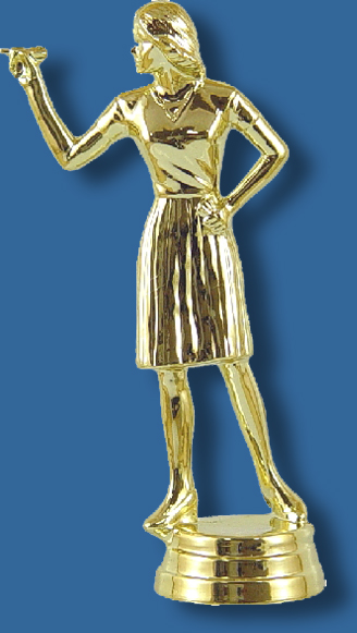 Female darts trophy figurine
