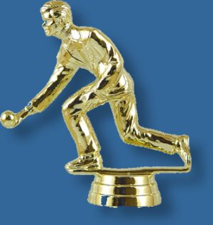 Male lawn bowls trophy figure