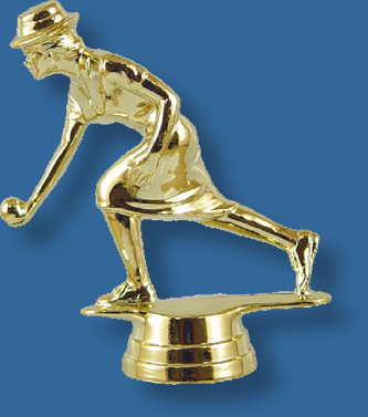 Female lawn bowls trophy figure