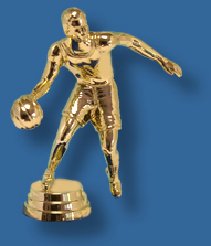 Male basketball trophy dribble