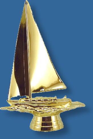 Sailing boat trophy figure in bright gold colour, attaches to most bases