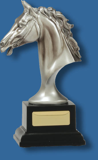 Large silver on black horse bust trophy