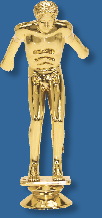 Large male swimming trophy figurine in diving position in bright gold colour, attaches to most bases