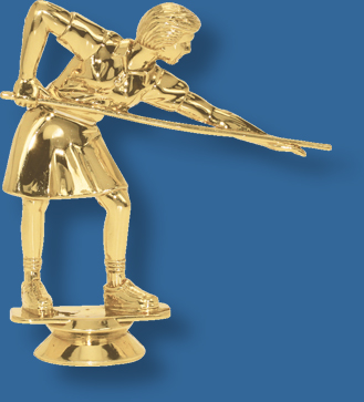 Female snooker trophy figurine bright gold, attaches to most bases