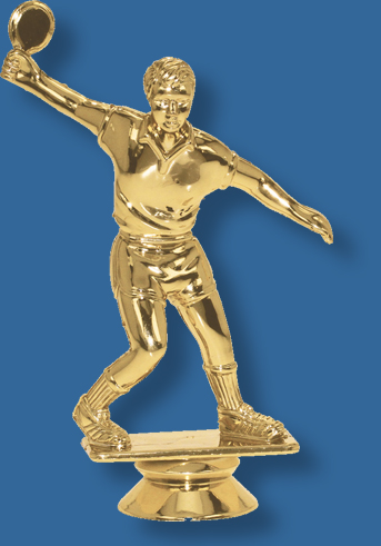Male table tennis trophy player figurine in bright gold colour, attaches to most bases