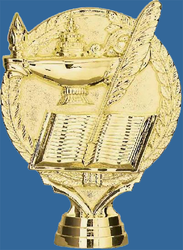 Gold Plastic Education Icon featuring lamp, quill and book. Screwed to bases