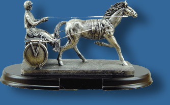Antique harness racing trophy
