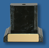 "Black ""marble look"" base and plinth."