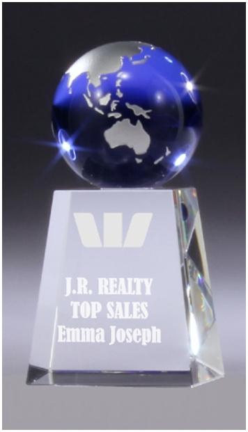 Crystal blue glass globe award