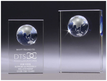crystal blue globe block corporate award
