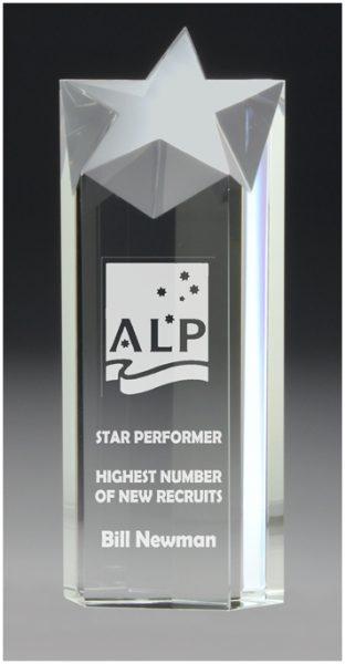 Star crystal boxed corporate award