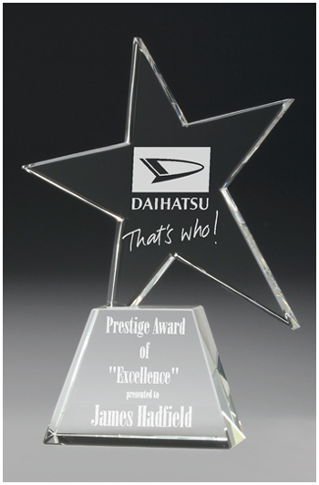 Crystal star on base award