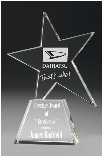 Crystal star on base award