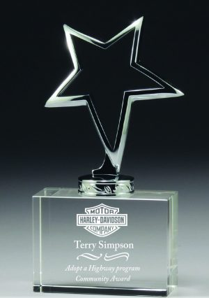 Crystal star abstract metal base award