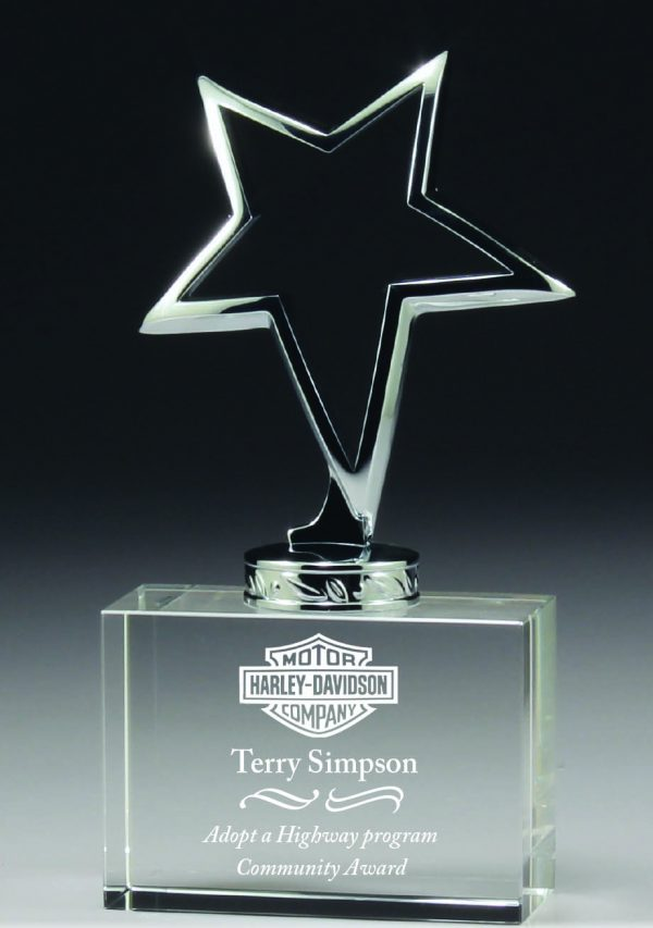 Crystal star abstract metal base award