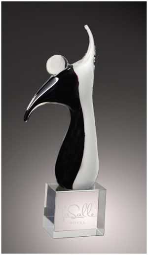 Black and white crystal victory statue award