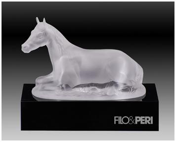 Crystal horse on black base trophy