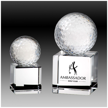 Crystal golf ball trophy