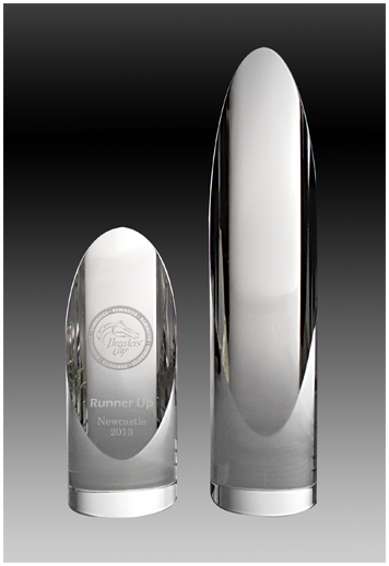Crystal cylinder corporate trophy