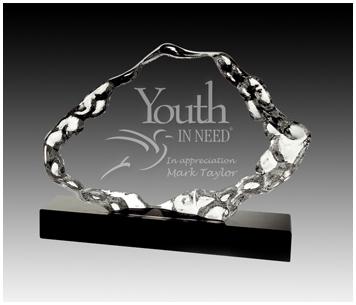 Crystal iceberg trophy on black base