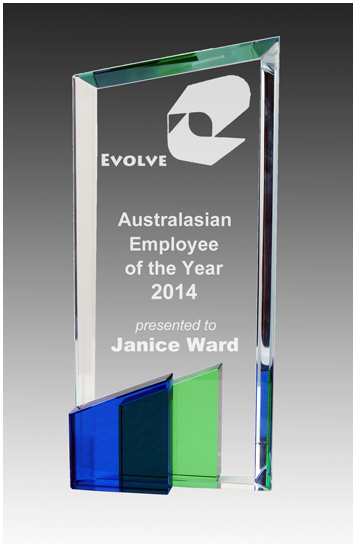 Crystal trio blue and green award
