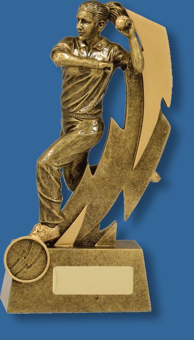 Shazam antique gold female bowler cricket trophy