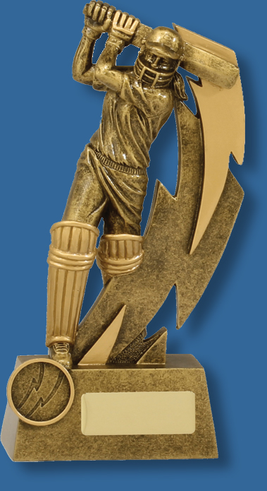 Shazam antique gold female batsman cricket trophy